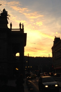 "Sunset Outside the National Theater Before Seeing ""Carmen"""