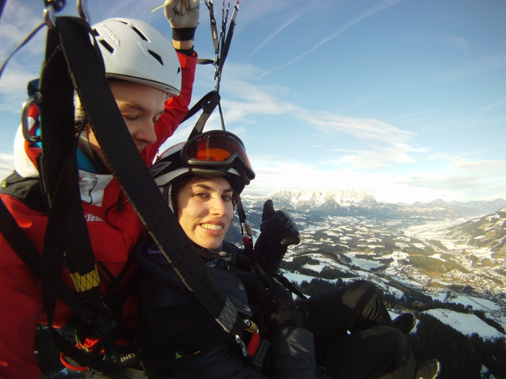 Paragliding over the Austrian Alps, Kitzbühel, Austria