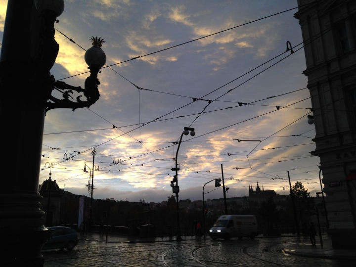 Rainy Sunset at the National Theater, Prague,, Czech Republic