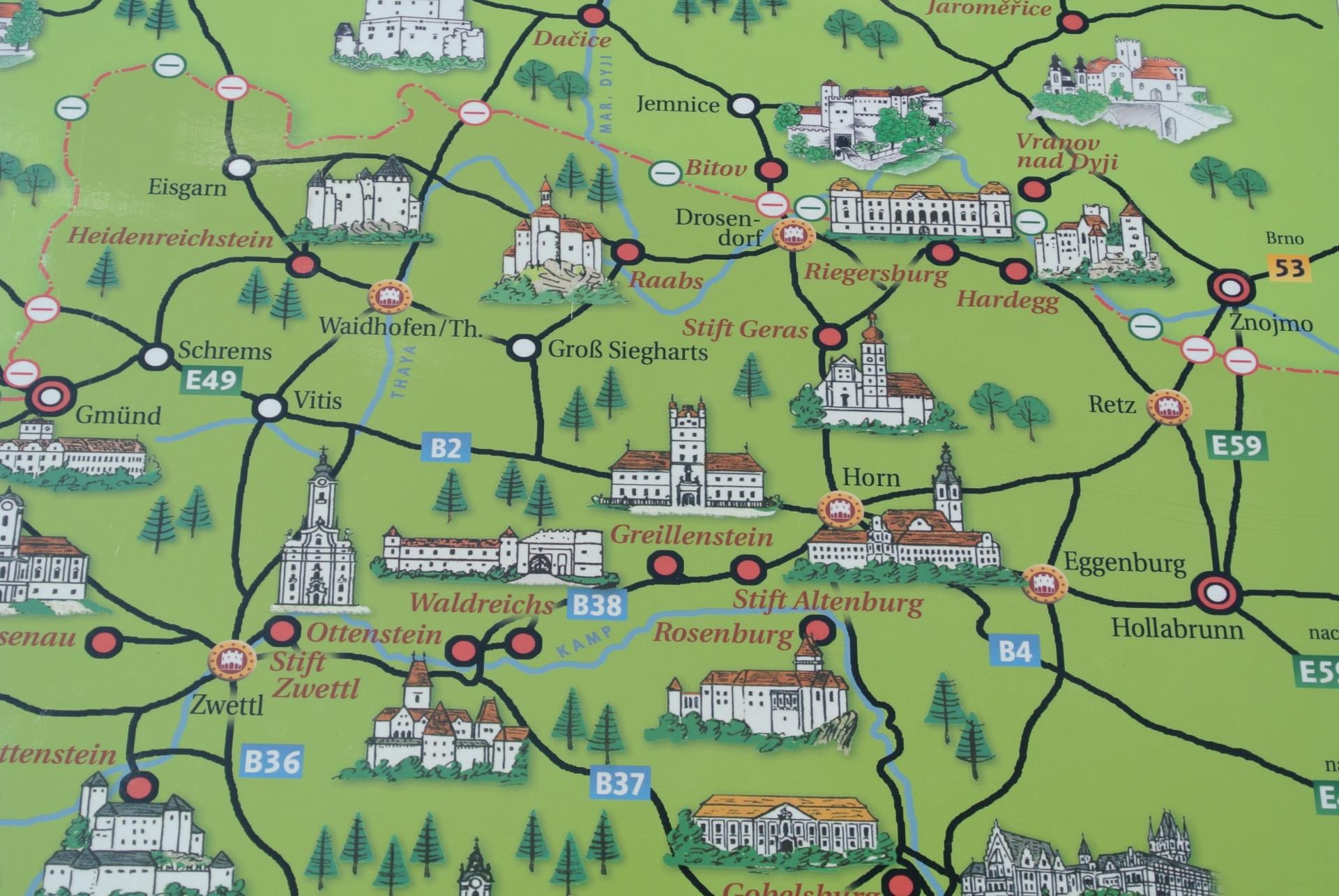 Map of Castles Czech Austrian