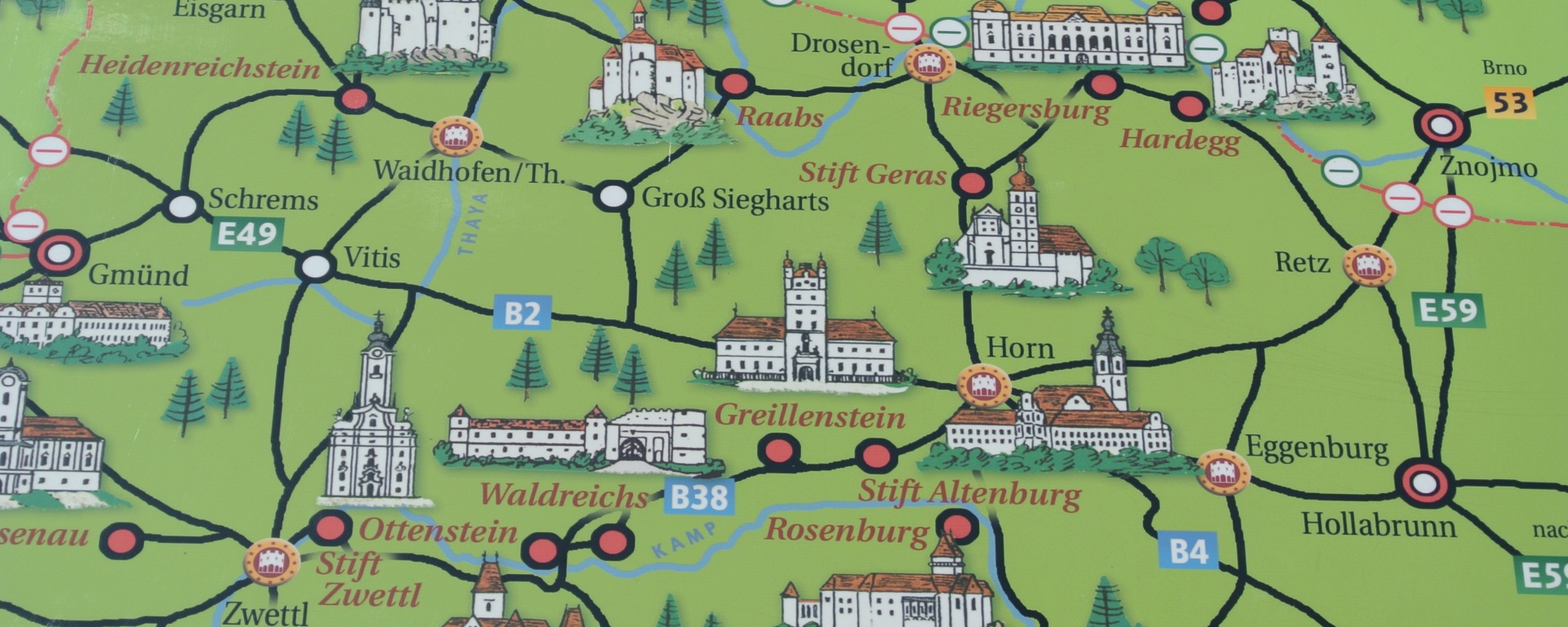 Map of Castles Czech Austrian