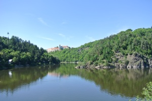 Looking at Bítov Castle and Dam