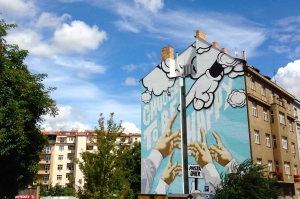 Famous Prague Graffiti Group Mural in Dejvice