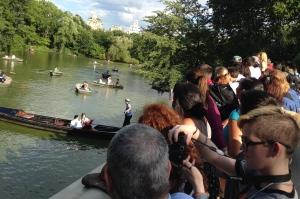 Lots of People Crashing a Wedding Proposal on The Lake