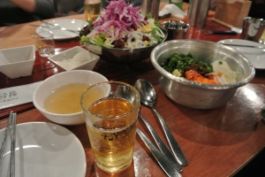 Soju/Beer, Salad, and Bibimbap
